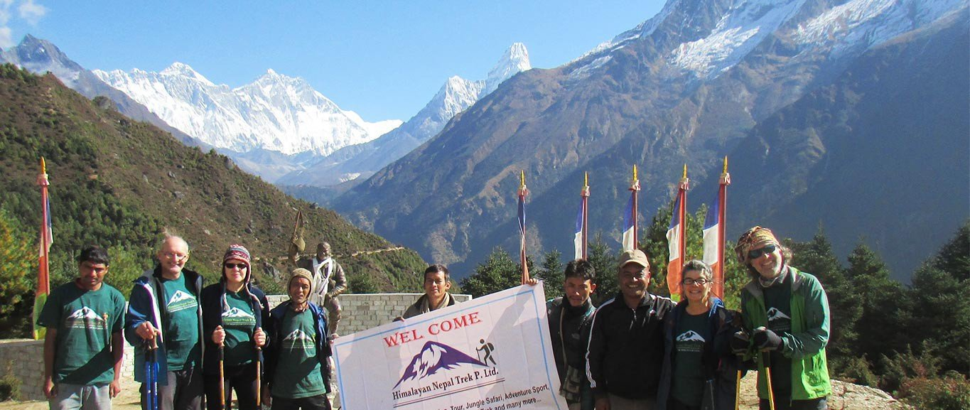 Clients Group Photo on the Way to Everest Base Camp